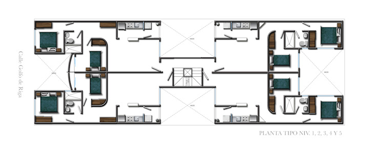 Planta tipo Casas modernas de RECON Arquitectura Moderno