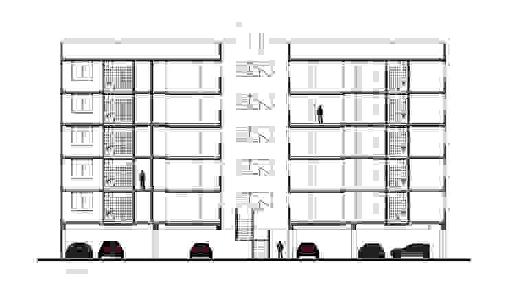 Corte Longitudinal Casas modernas de RECON Arquitectura Moderno