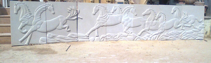 StonzPro Sandstone Seven Horses Mural by Stonzpro T Private Limited