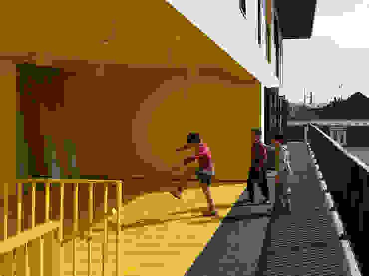 15_VUE DE L'ESPACE PARTAGE DU R+3 sophie delhay architectes