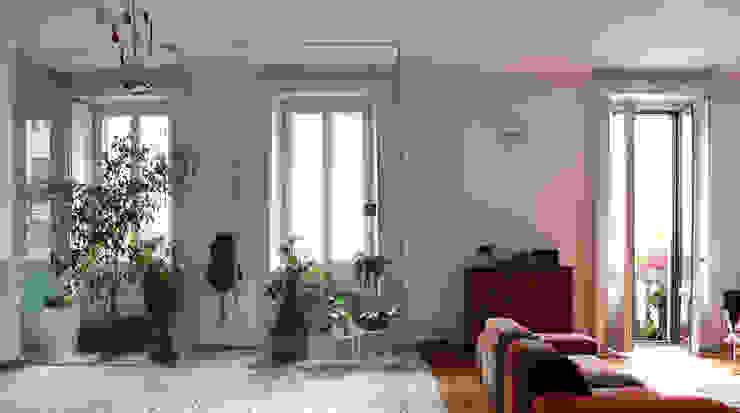 Abitazione con studi professionali Soggiorno moderno di auge architetti Moderno