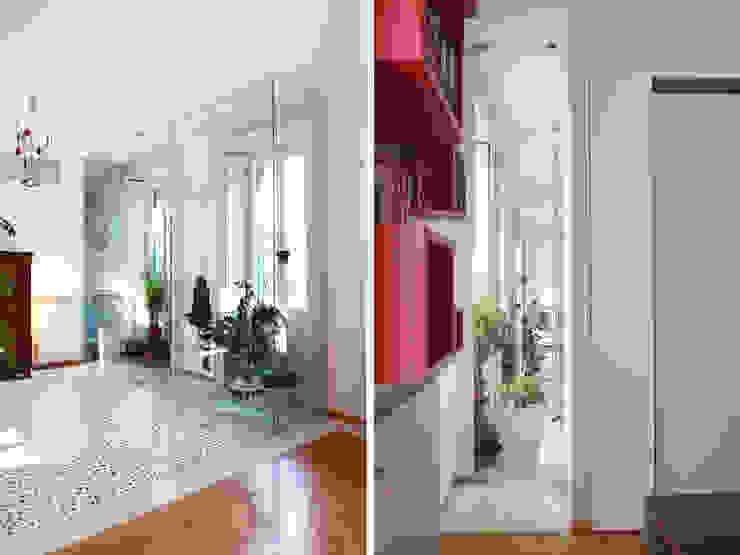 Abitazione con studi professionali Pareti & Pavimenti in stile moderno di auge architetti Moderno