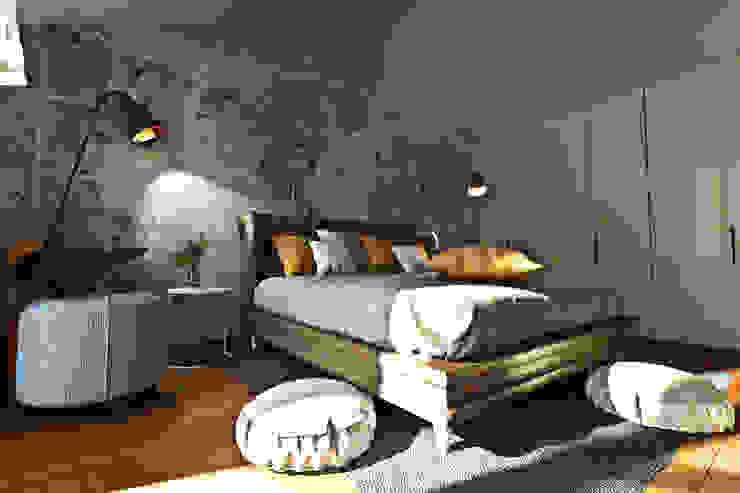 Modellazione di interni Soggiorno camera da letto Camera da letto moderna di Studio di Architettura Tundo Moderno