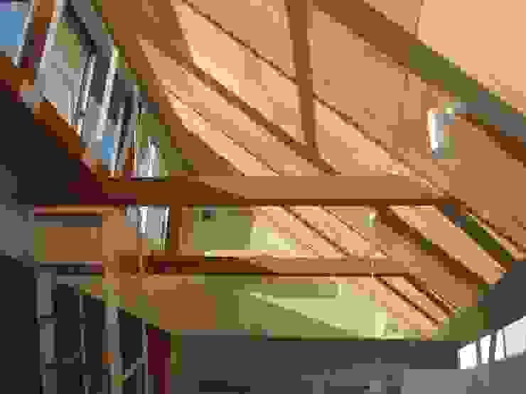 おゆみ野の家 屋上緑化や軒の深いテラス、吹抜けなど自然と家族をつなぐ温かみのある家 モダンデザインの リビング の アトリエ24一級建築士事務所 モダン