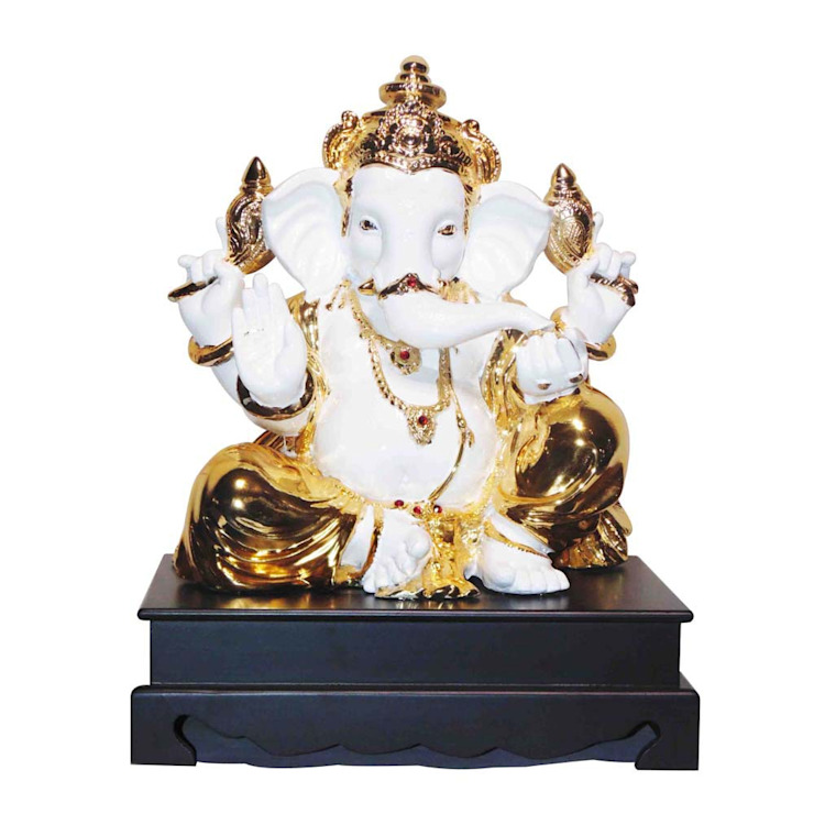 Jeweled Ganesha Statue/ Indian Hindu God Occasion Gifts / No Fear Gesture/ Polystone Sculpture/ Religious Idols Online/ Home Decor Figurine: asian  by M4design,Asian