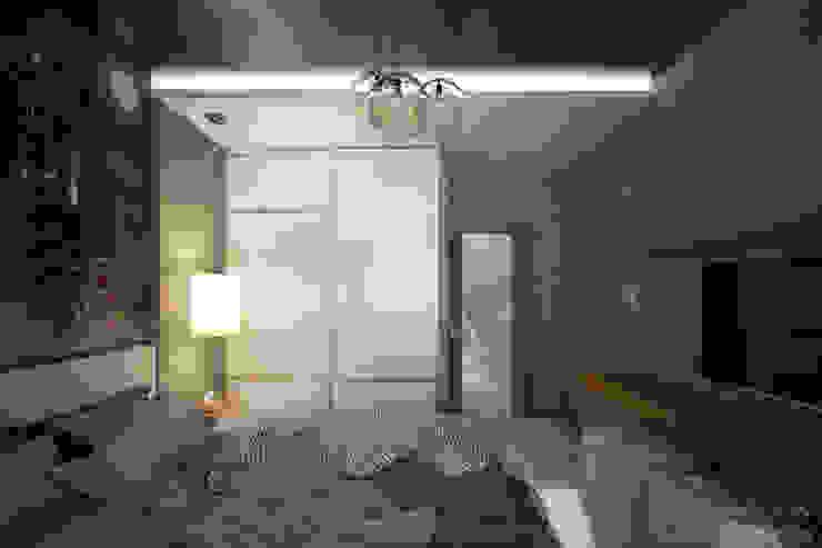 """Дизайн спальни в современном стиле в ЖК """"Янтарный"""" Спальня в стиле модерн от Студия интерьерного дизайна happy.design Модерн"""