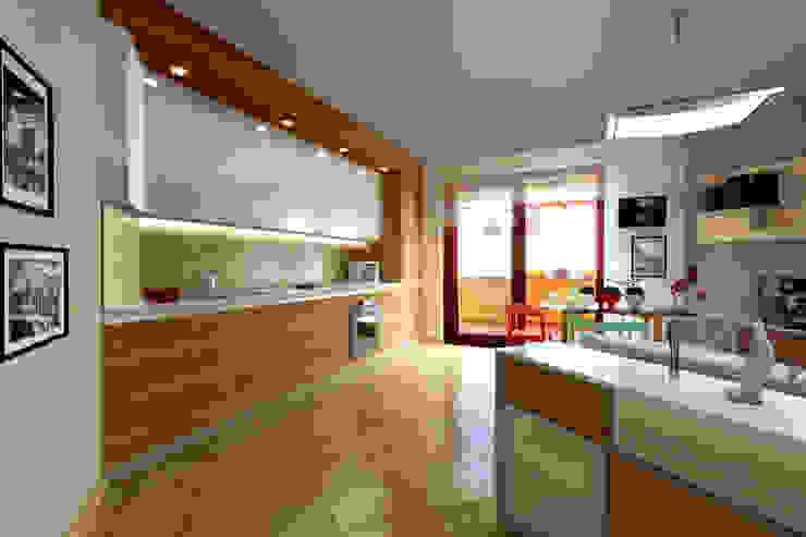 Progettazione di interni Soggiorno con angolo cottura Sala da pranzo moderna di Studio di Architettura Tundo Moderno Gomma