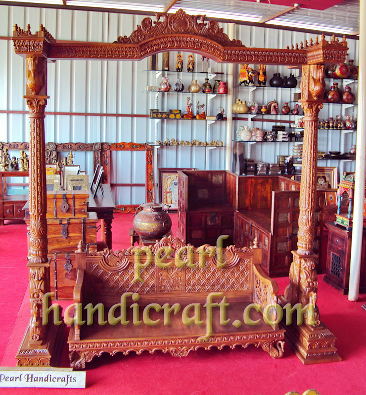 hand carved teak swing: asian  by Pearl Handicrafts, Asian