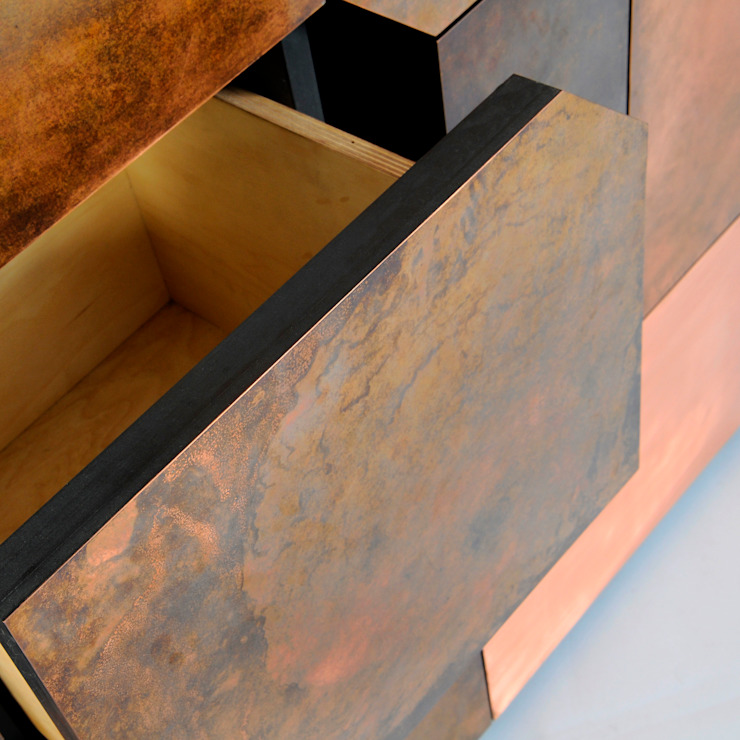Elementi Copper Patina Cabinet by Andrea Felice: eclectic  by Andrea Felice - Bespoke Furniture, Eclectic