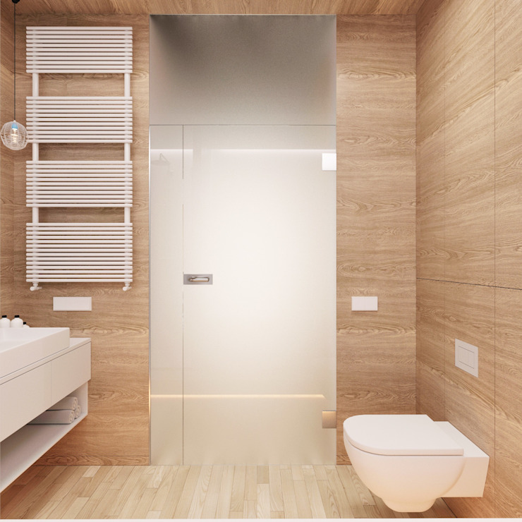 Banheiros minimalistas por 081 architekci Minimalista
