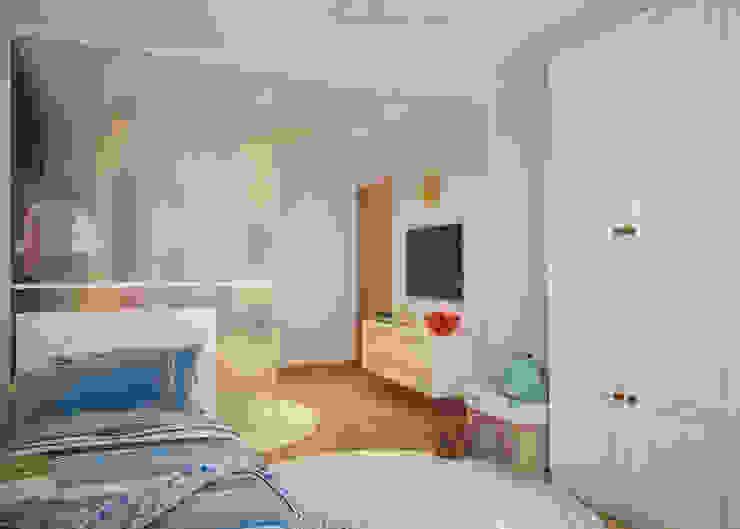 Гостиная и детская в двухкомнатной квартире на Бескудниковском бульваре Детские комната в эклектичном стиле от «Студия 3.14» Эклектичный