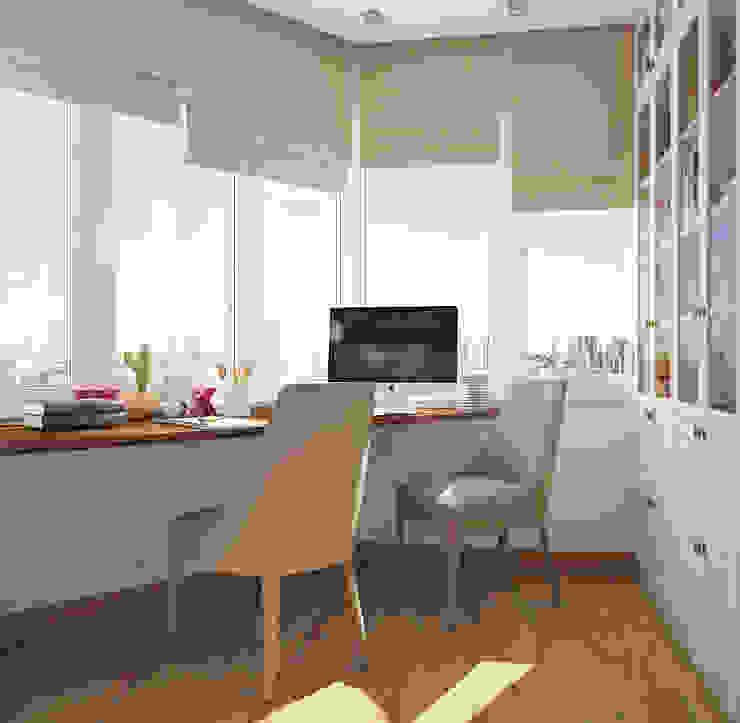 Кабинет в двухкомнатной квартире на Бескудниковском бульваре Рабочий кабинет в эклектичном стиле от «Студия 3.14» Эклектичный