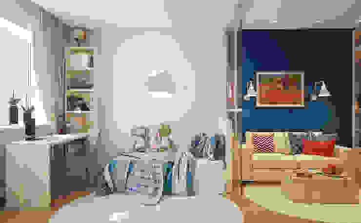 Гостиная и детская в двухкомнатной квартире на Бескудниковском бульваре Гостиные в эклектичном стиле от «Студия 3.14» Эклектичный