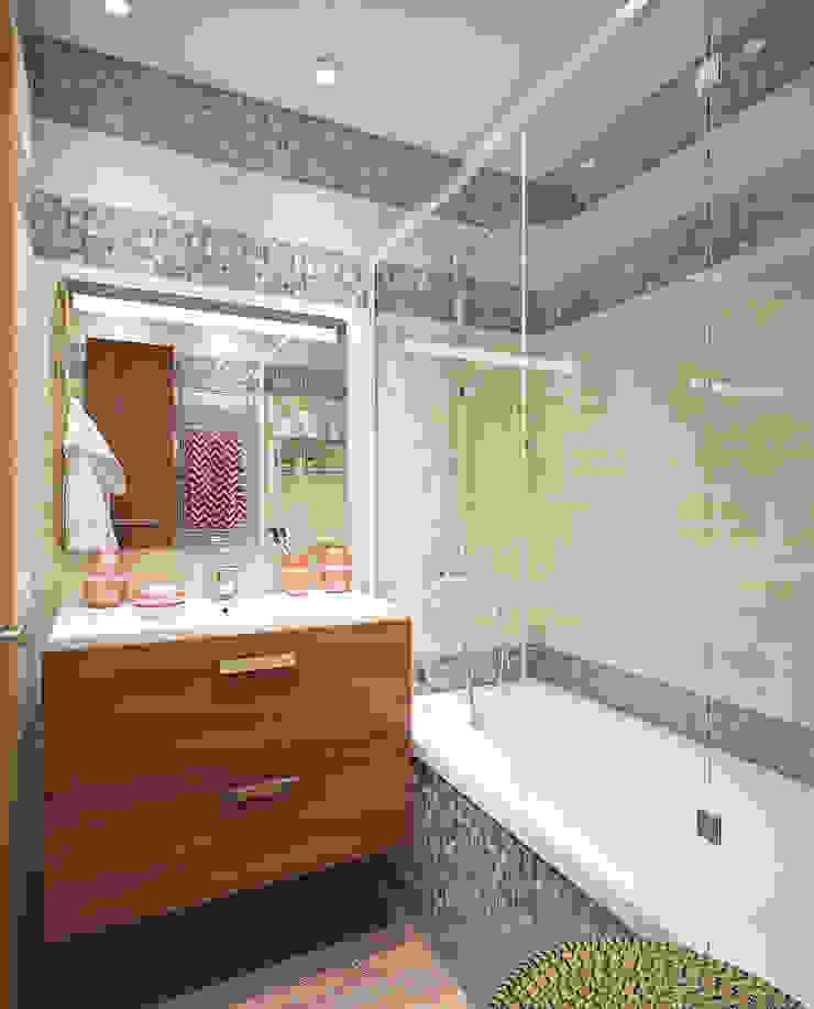 Ванная в двухкомнатной квартире на Бескудниковском бульваре Ванная комната в эклектичном стиле от «Студия 3.14» Эклектичный