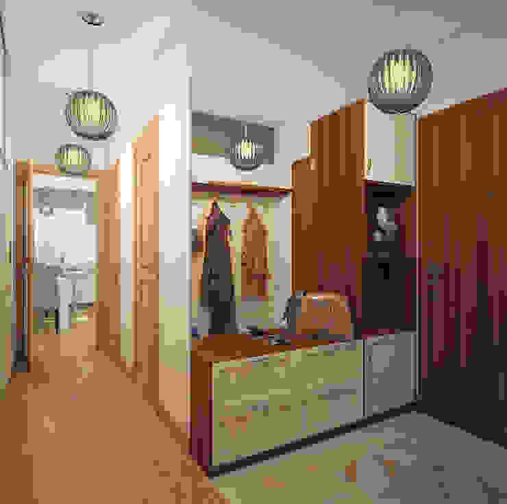 Прихожая в двухкомнатной квартире на Бескудниковском бульваре Коридор, прихожая и лестница в эклектичном стиле от «Студия 3.14» Эклектичный