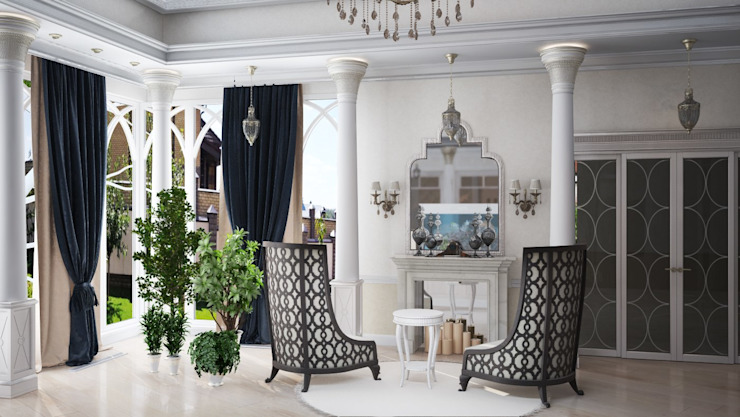 Частный дом, 450 м2, Анапа Гостиная в классическом стиле от De Steil Классический