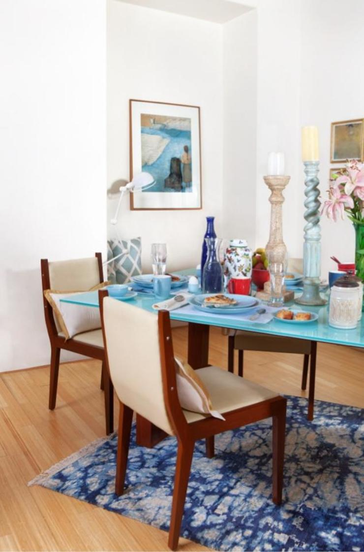 A silk Batik rug in a dining area setting Cocoon Fine Rugs