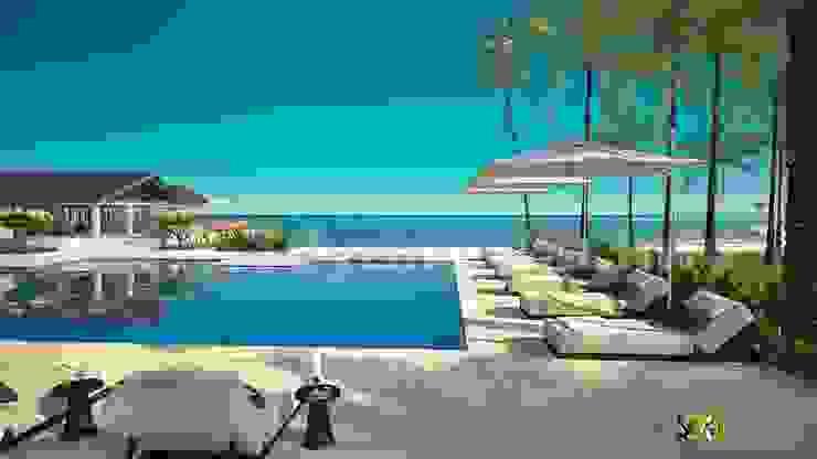 Hotel Pool Exterior Design Rendering: modern  by Yantram Architectural Design Studio, Modern