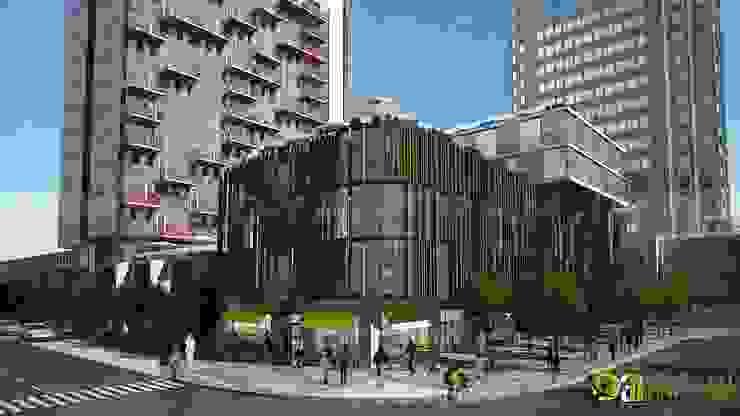 3D Commercial Architectural Exterior Design Rendering: modern  by Yantram Architectural Design Studio, Modern