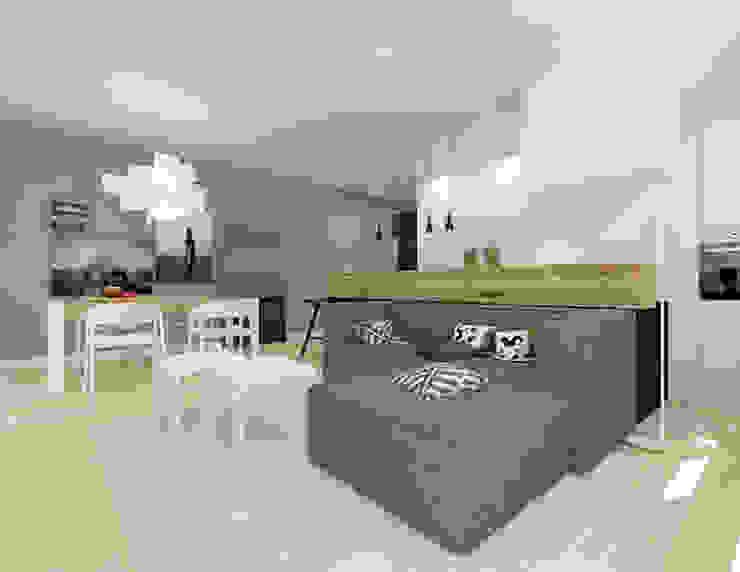 Mieszkanie 2+1, 74m2 Nowoczesny salon od A+A Nowoczesny