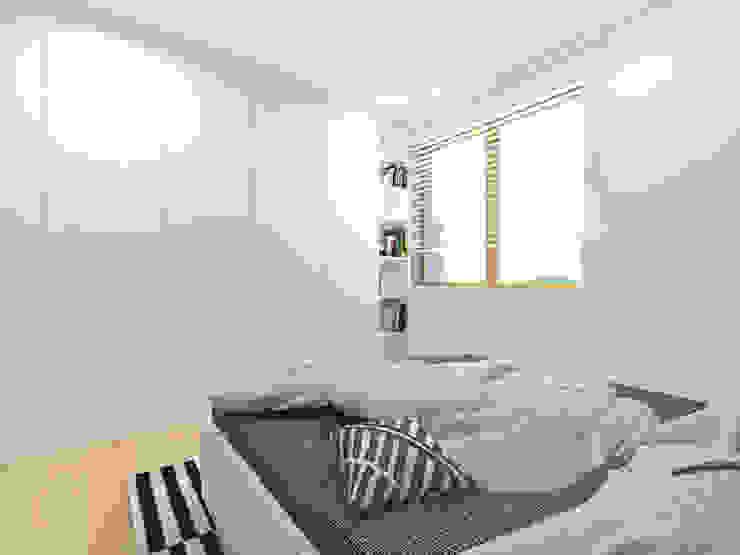 Mieszkanie 2+1, 74m2 Skandynawska sypialnia od A+A Skandynawski