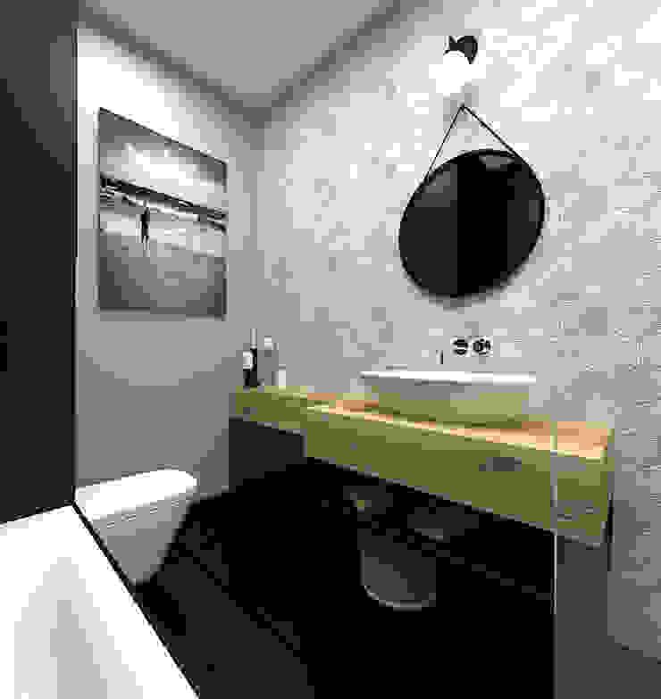 Mieszkanie 2+1, 74m2 Skandynawska łazienka od A+A Skandynawski