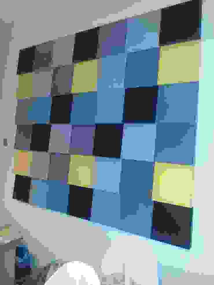 Ściana z panelami Fluffo Cubic - detal Nowoczesny salon od FLUFFO fabryka miękkich ścian Nowoczesny