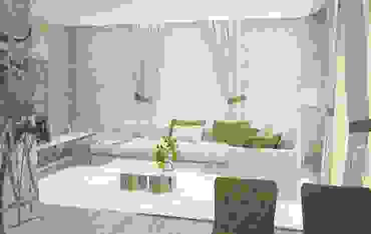 Коттедж в современном стиле с элементами кантри Гостиная в стиле минимализм от DS Fresco Минимализм