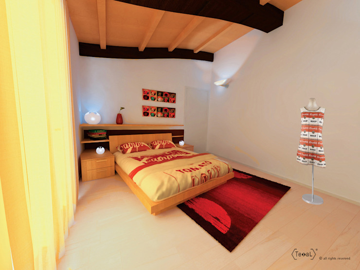 Camera da letto arte, Andy Wahrol Camera da letto moderna di TEXAL di Bernecoli Matteo Moderno