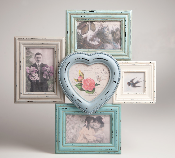 Antic Shabby Chic Wooden Multi Photo Frame in Pastel Colours - Distressed Look od Vintagist.com Skandynawski