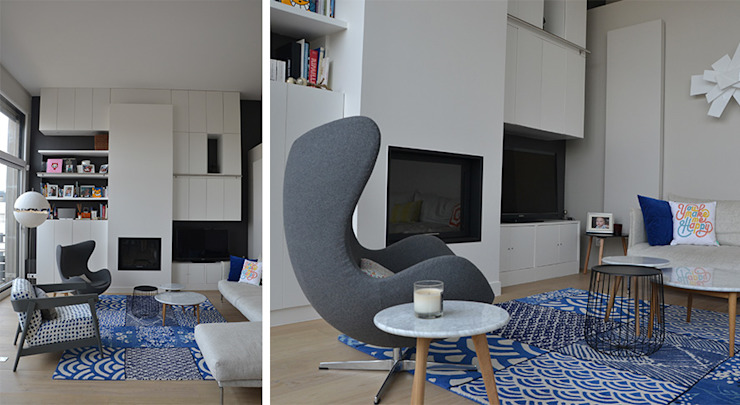Salon - Duplex Boulogne Salon moderne par A comme Archi Moderne