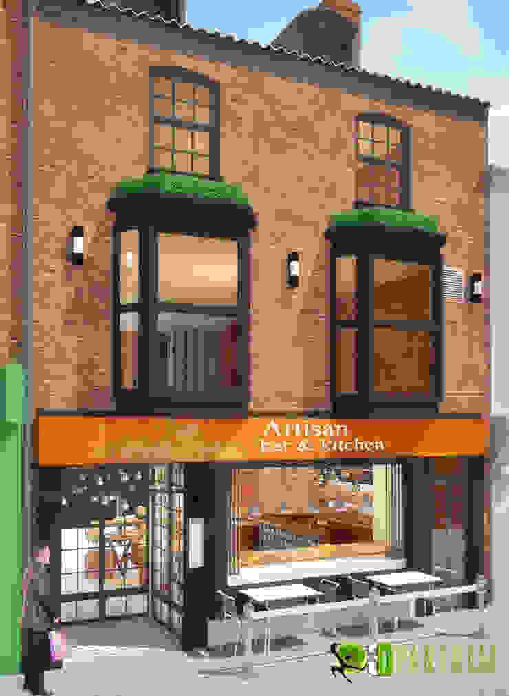 3D Restaurant Bar Exterior CGI Design: modern  by Yantram Architectural Design Studio, Modern