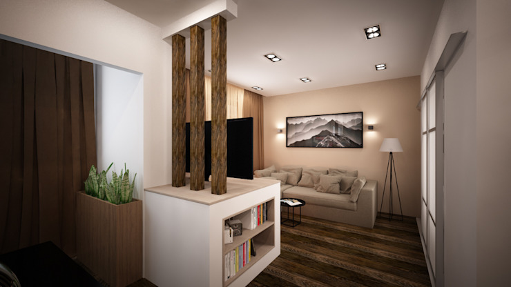 Проект однокомнатной квартиры – <q>Стиль современного города</q>. Гостиная в стиле минимализм от дизайн-бюро ARTTUNDRA Минимализм