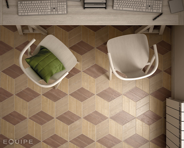 Hexawood Chevron Natural, Tan & Old Left 9x20,5 de Equipe Ceramicas Escandinavo