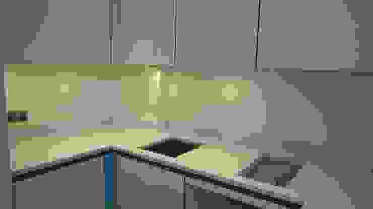 Before photo of countryside splashback Modern kitchen by Glartique Ltd Modern