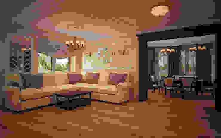Гостиная коттеджа в г. Домодедово в классическом стиле.: Гостиная в . Автор – дизайн-бюро ARTTUNDRA, Классический
