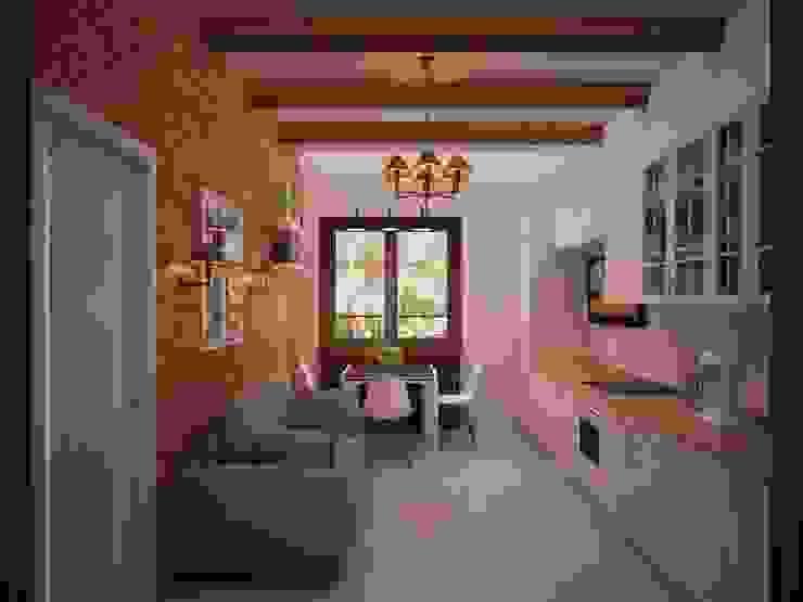 Гостиная в стиле лофт в ЖК «Арт» в г. Красногорск Кухня в стиле лофт от дизайн-бюро ARTTUNDRA Лофт