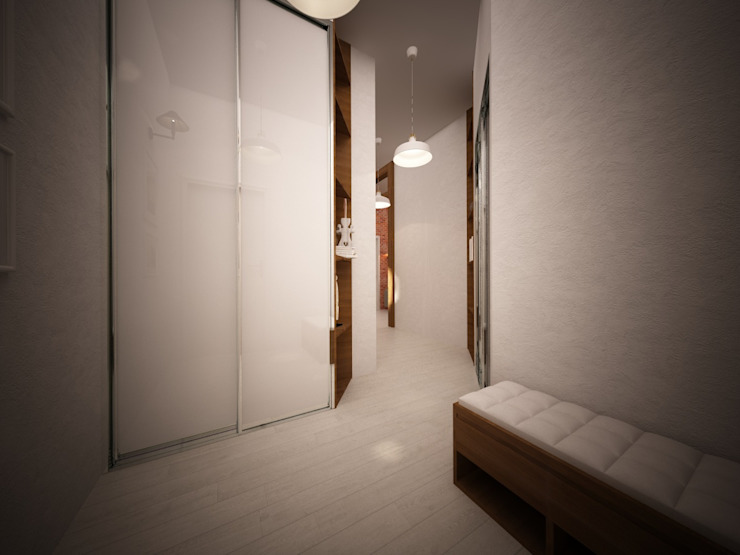 Гостиная в стиле лофт в ЖК «Арт» в г. Красногорск Коридор, прихожая и лестница в стиле лофт от дизайн-бюро ARTTUNDRA Лофт