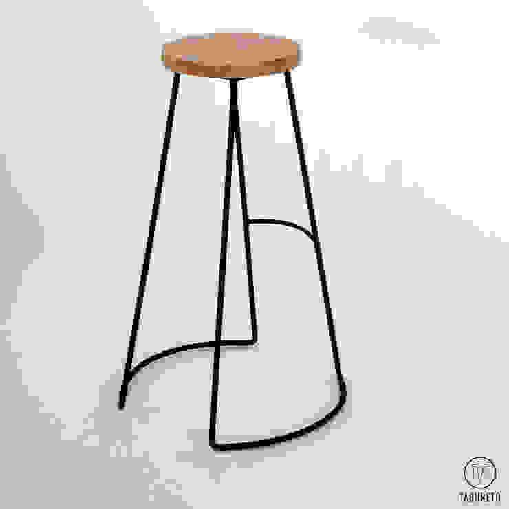 Banquetas de diseño en hierro y madera de Tabureto Moderno