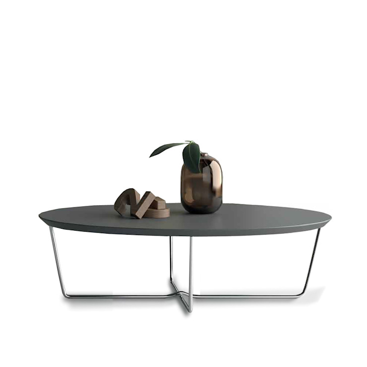 'Oval' coffee table with chromed metal base by Dall'Agnese de My Italian Living Moderno