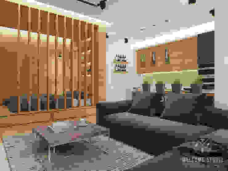 Общее пространство ракурс 1 Гостиная в стиле минимализм от Мастерская дизайна Welcome Studio Минимализм