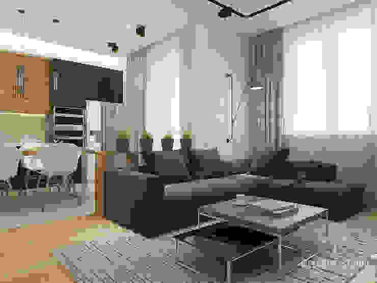 Общее пространство ракурс 2 Гостиная в стиле минимализм от Мастерская дизайна Welcome Studio Минимализм