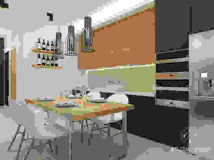 Общее пространство ракурс 6 Кухня в стиле минимализм от Мастерская дизайна Welcome Studio Минимализм