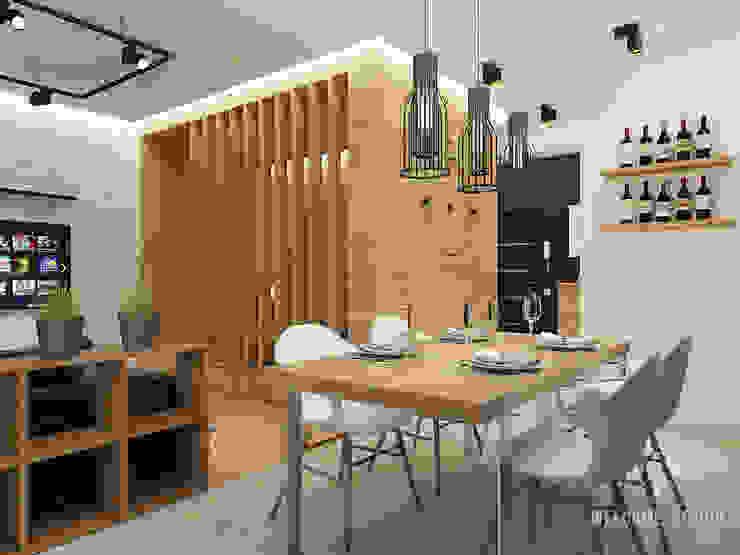 Общее пространство ракурс 8 Кухня в стиле минимализм от Мастерская дизайна Welcome Studio Минимализм