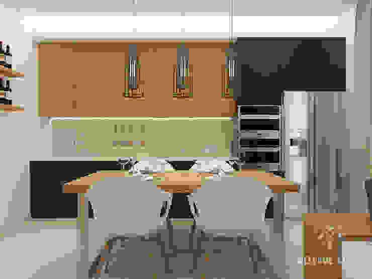 Общее пространство ракурс 10 Кухня в стиле минимализм от Мастерская дизайна Welcome Studio Минимализм