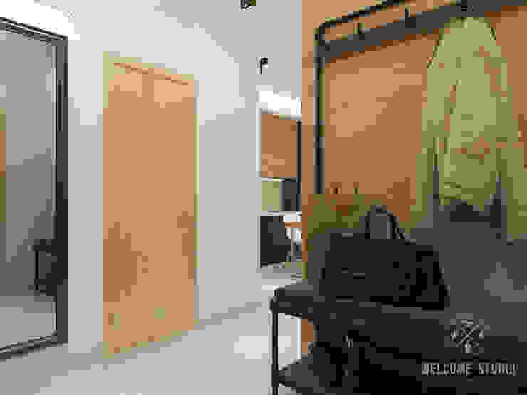 Холл ракурс 3 Коридор, прихожая и лестница в стиле минимализм от Мастерская дизайна Welcome Studio Минимализм