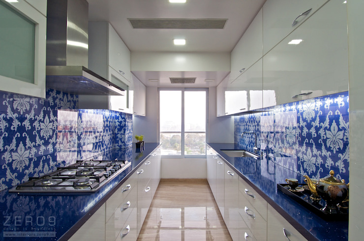 the blue kitchen Modern Kitchen by ZERO9 Modern