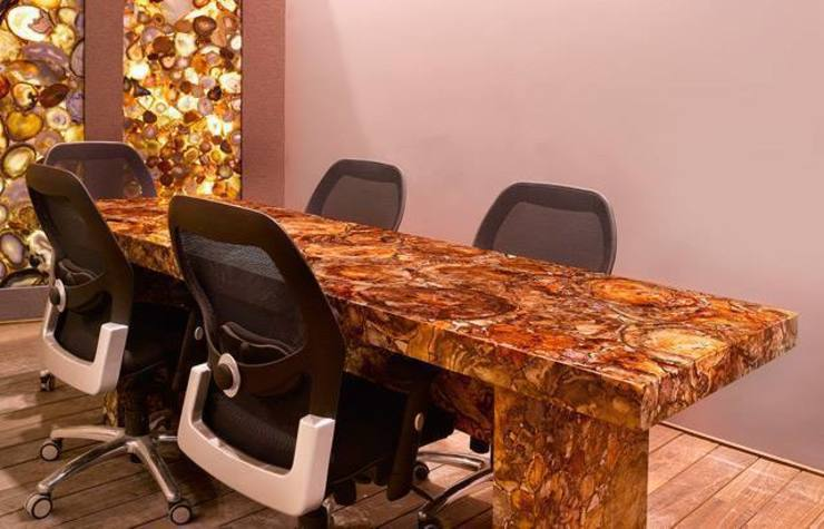 Petrified Wood Conference Table With Agate Wall Panel: modern  by Stonesmiths - Redefining Stone-Age,Modern