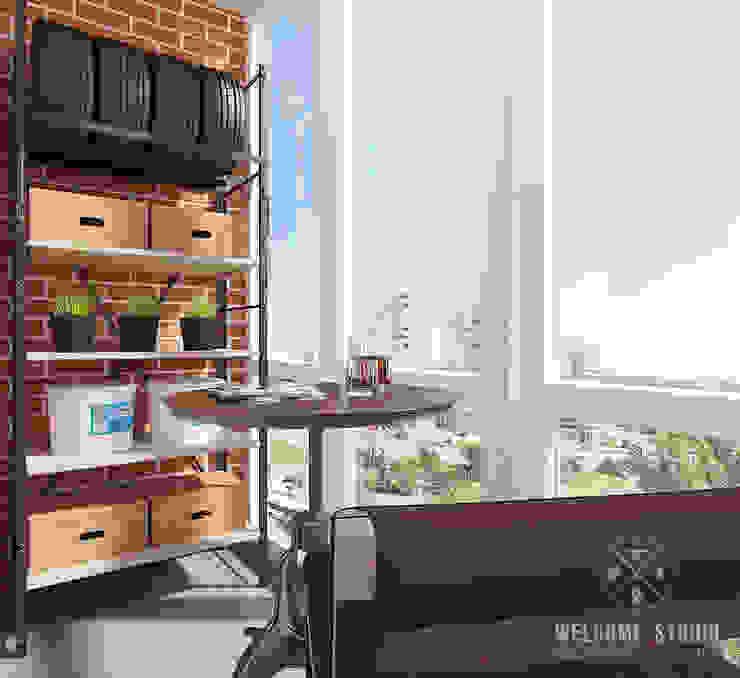 Лоджия ракурс 1 Балкон и терраса в стиле минимализм от Мастерская дизайна Welcome Studio Минимализм