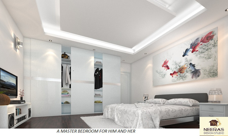 A Master Bedroom For Him And Her:  Bedroom by Neeras Design Studio